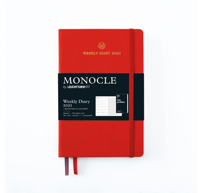 Agenda Semana Vista + Notas B6+ Monocle Tapa Dura Rojo